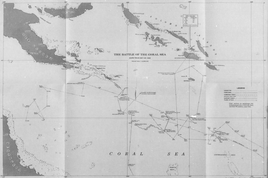 Map Showing The Shipping Movements During The Battle Of The Coral Sea