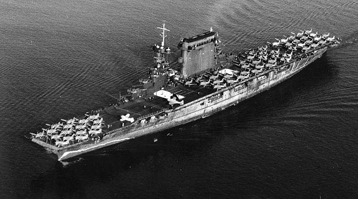 USS Lexington before she was sunk by a gasoline vapor explosion caused by in experienced damage control after an Imperial Japanese Navy carrier strike -- NARA Photo # 80-G-416362